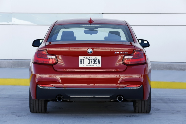 2017 BMW 2-Series M Coupe in Melbourne Red Metallic from a rear view