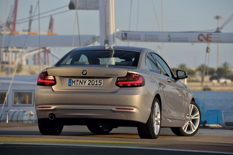 2017 BMW 2-Series Coupe in Moonlight Silver Metallic from a rear right view