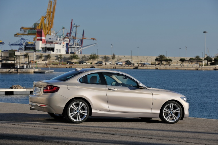 2017 BMW 2-Series Coupe in Moonlight Silver Metallic from a rear right three-quarter view