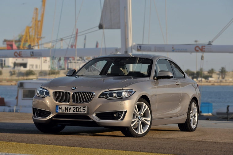 2017 BMW 2-Series Coupe in Moonlight Silver Metallic from a front left view