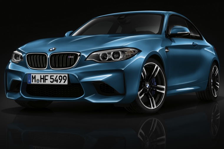 2017 BMW M2 Coupe in Long Beach Blue Metallic from a front left view
