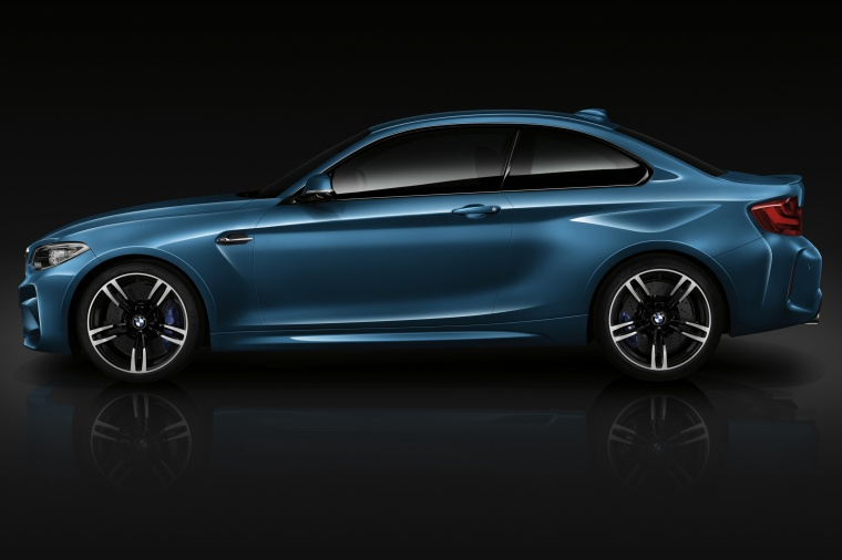 2017 BMW M2 Coupe in Long Beach Blue Metallic from a left side view