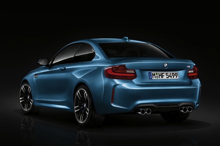 2017 BMW M2 Coupe in Long Beach Blue Metallic from a rear left view