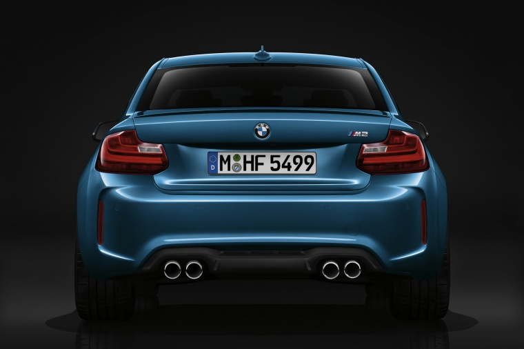 2017 BMW M2 Coupe in Long Beach Blue Metallic from a rear view
