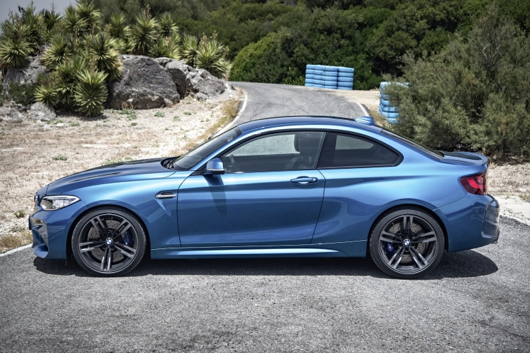 2017 BMW M2 Coupe in Long Beach Blue Metallic from a side view