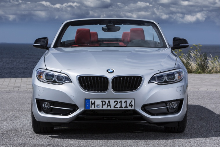 2017 BMW 2-Series Convertible in Glacier Silver Metallic from a frontal view