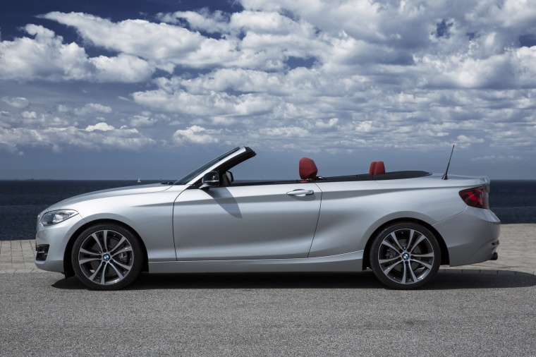 2017 BMW 2-Series Convertible in Glacier Silver Metallic from a side view