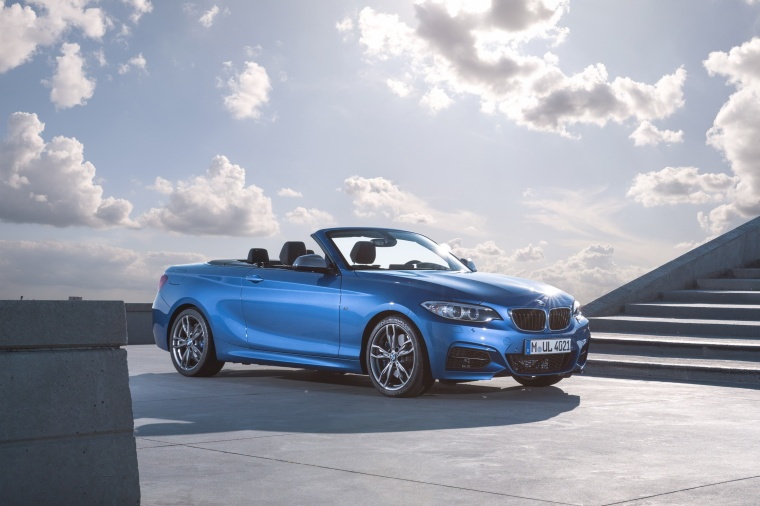 2017 BMW 2-Series M Convertible in Estoril Blue Metallic from a front right three-quarter view