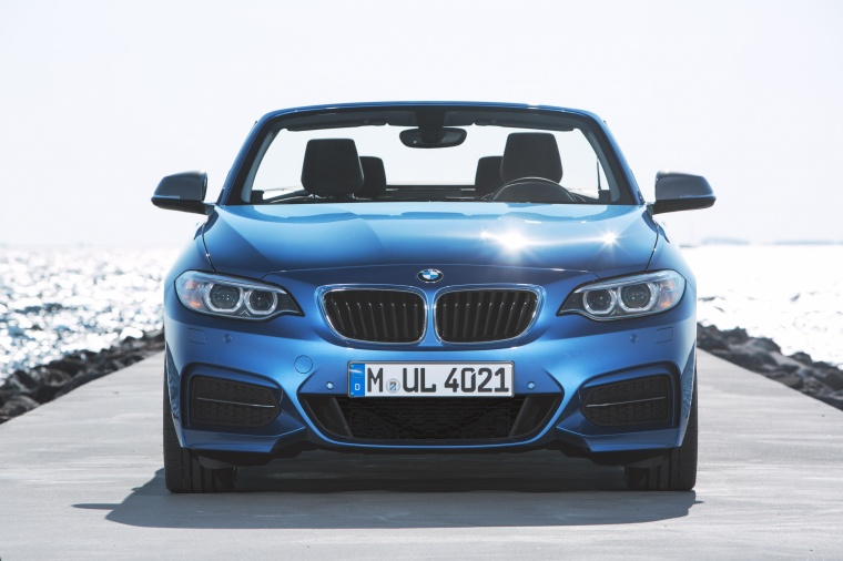 2017 BMW 2-Series M Convertible in Estoril Blue Metallic from a frontal view