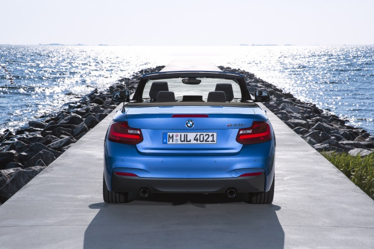 2017 BMW 2-Series M Convertible in Estoril Blue Metallic from a rear view