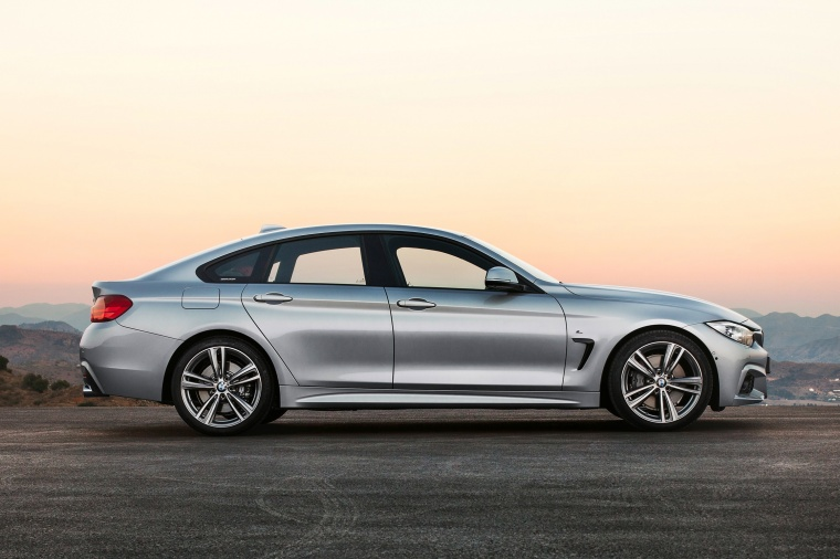 2015 BMW 435i Gran Coupe in Glacier Silver Metallic from a side view