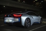 2014 BMW i8 Coupe in Ionic Silver Metallic - Static Rear Right Three-quarter View