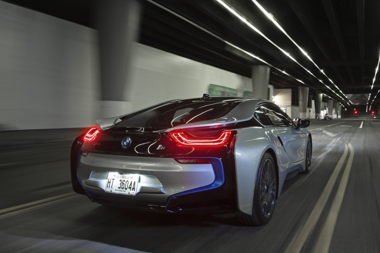 2015 Bmw I8 Coupe In Ionic Silver Metallic Color Driving Rear