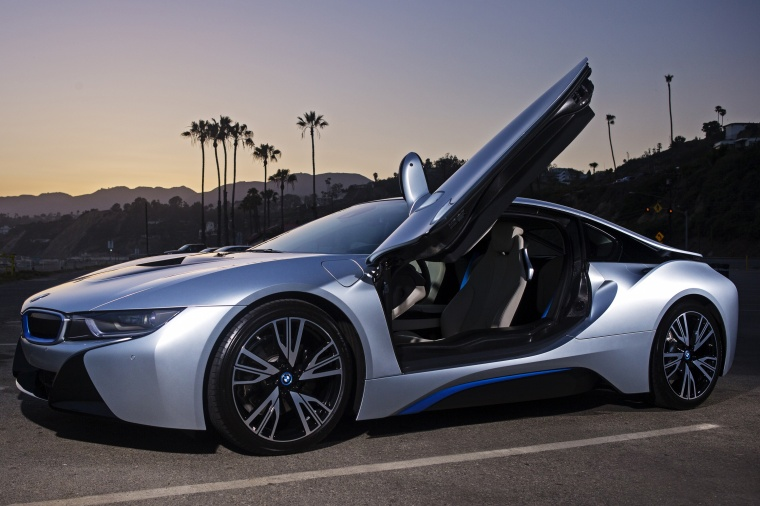 2015 Bmw I8 Coupe With Doors Open In Ionic Silver Metallic Color