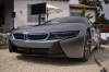 2017 BMW i8 Coupe in Ionic Silver Metallic from a front left view
