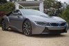 2017 BMW i8 Coupe in Ionic Silver Metallic from a front right three-quarter view