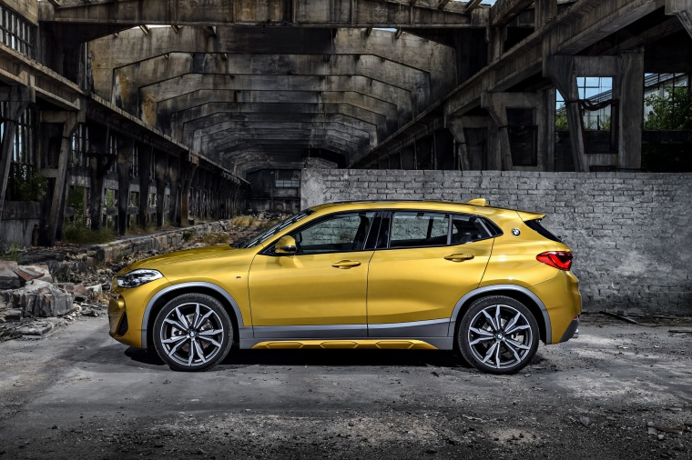 2018 BMW X2 in Galvanic Gold Metallic from a side view