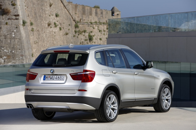 2012 BMW X3 XDrive35i In Mineral Silver Metallic From A Rear Right View