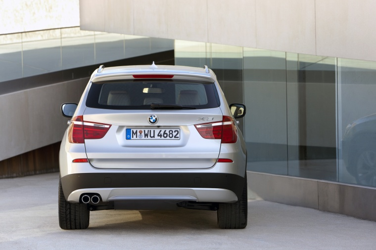 2013 BMW X3 xDrive35i in Mineral Silver Metallic from a rear view