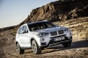 Driving 2017 BMW X3 in Mineral White Metallic from a front right three-quarter view