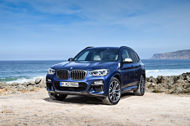 2018 BMW X3 M40i in Phytonic Blue Metallic from a front left view