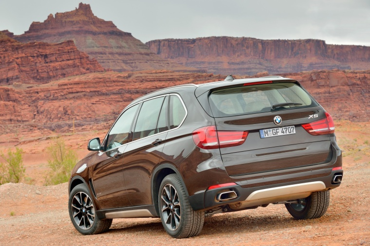 2014 BMW X5 xDrive50i in Sparkling Brown Metallic from a rear left three-quarter view
