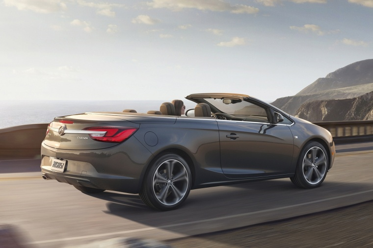 Driving 2018 Buick Cascada Convertible from a rear right three-quarter view