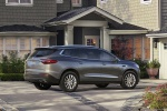 Picture of a 2019 Buick Enclave in Pepperdust Metallic from a rear right three-quarter perspective
