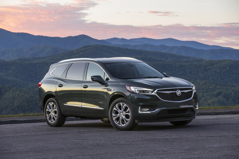 Picture of a 2020 Buick Enclave Avenir in Dark Slate Metallic from a front right three-quarter perspective