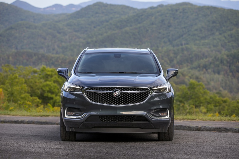 Picture of a 2020 Buick Enclave Avenir in Dark Slate Metallic from a frontal perspective