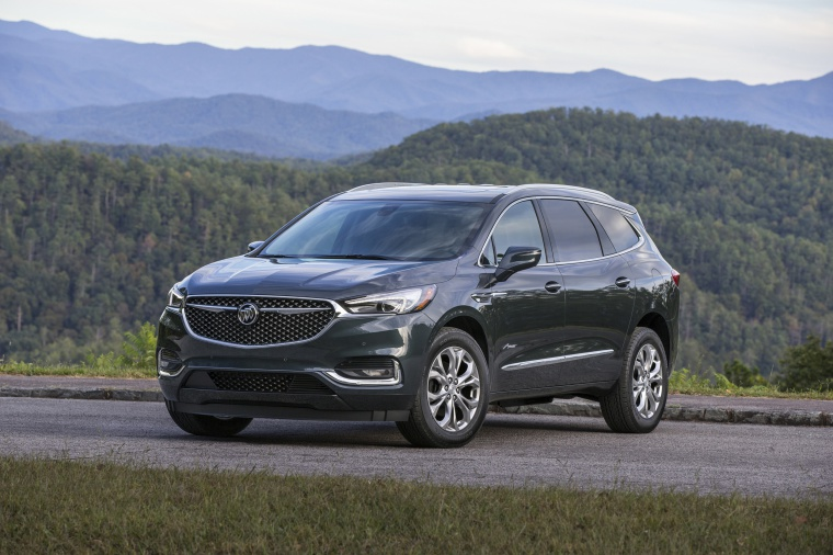 Picture of a 2020 Buick Enclave Avenir in Dark Slate Metallic from a front left perspective