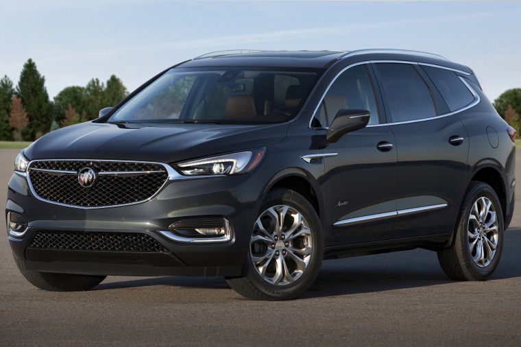 Picture of a 2020 Buick Enclave Avenir in Dark Slate Metallic from a front left three-quarter perspective