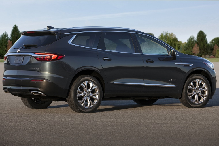 Picture of a 2020 Buick Enclave Avenir in Dark Slate Metallic from a rear right three-quarter perspective