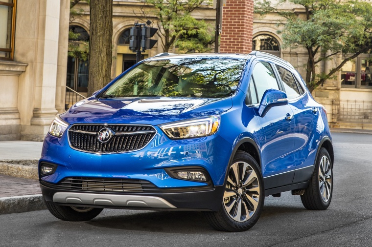 2018 Buick Encore in Coastal Blue Metallic from a front left view