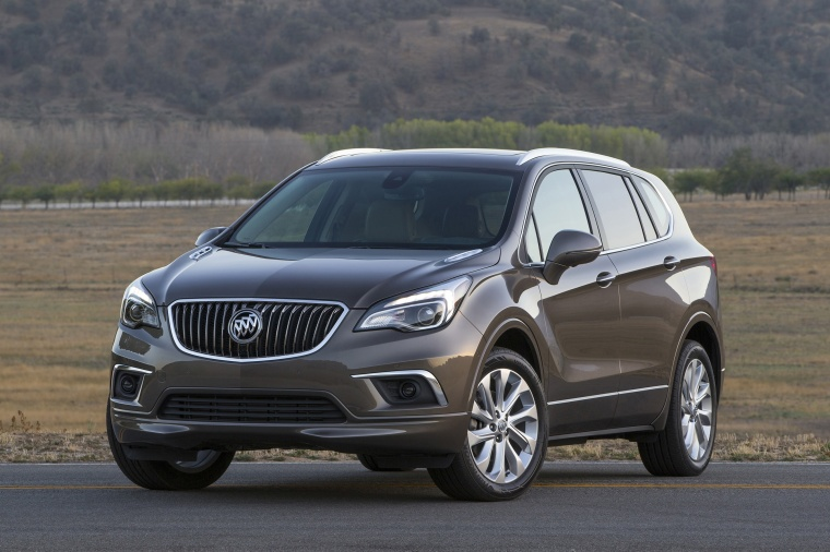 2018 Buick Envision AWD in Bronze Alloy Metallic from a front left view