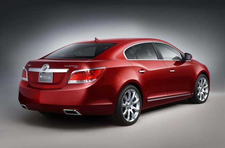 2011 Buick LaCrosse CXS in Red Jewel Tintcoat from a rear right three-quarter view