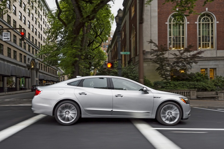 Driving 2017 Buick LaCrosse in Quicksilver Metallic from a right side view