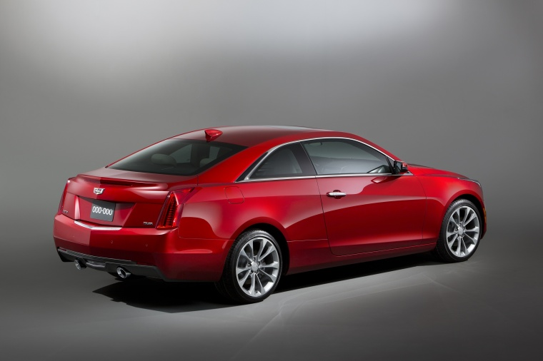 2018 Cadillac ATS Coupe 3.6 in Red Obsession Tintcoat from a rear right three-quarter view