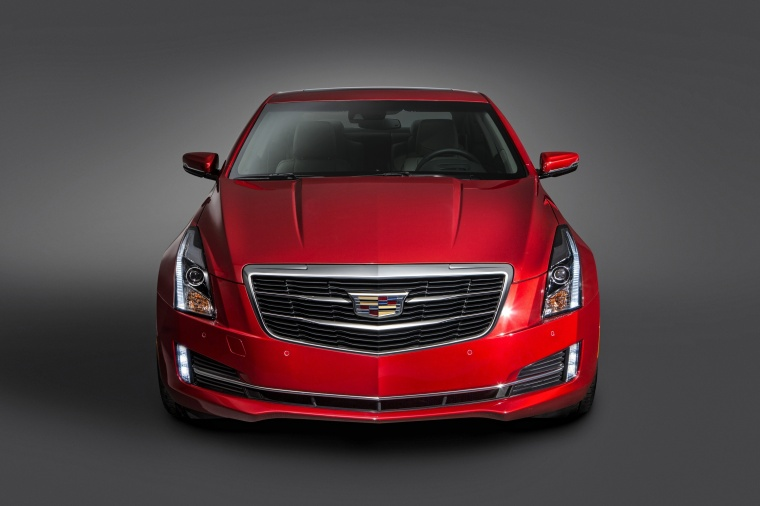 2018 Cadillac ATS Coupe 3.6 in Red Obsession Tintcoat from a frontal view
