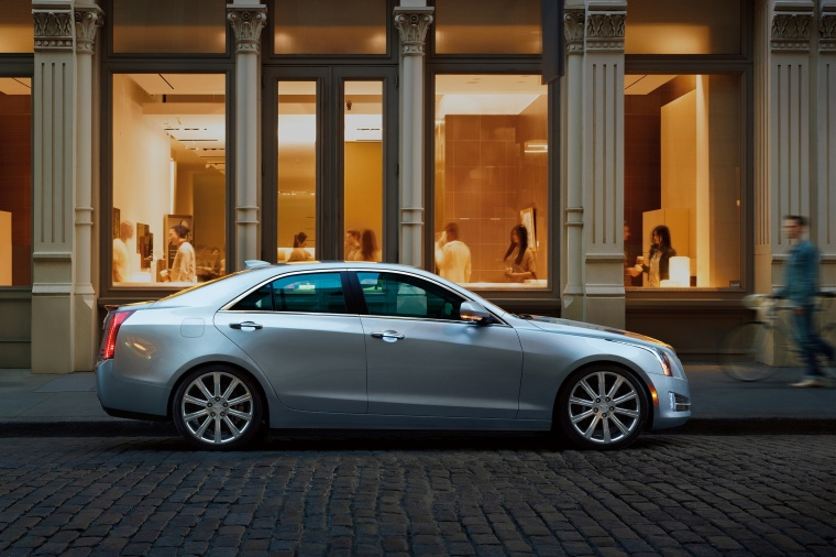 2018 Cadillac ATS Sedan 2.0T in Radiant Silver Metallic from a side view
