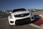 2018 Cadillac ATS-V Sedan in Crystal White Tricoat - Driving Frontal View
