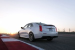 2018 Cadillac ATS-V Sedan in Crystal White Tricoat - Driving Rear Left View