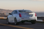 2018 Cadillac ATS-V Coupe in Crystal White Tricoat - Driving Rear Left View