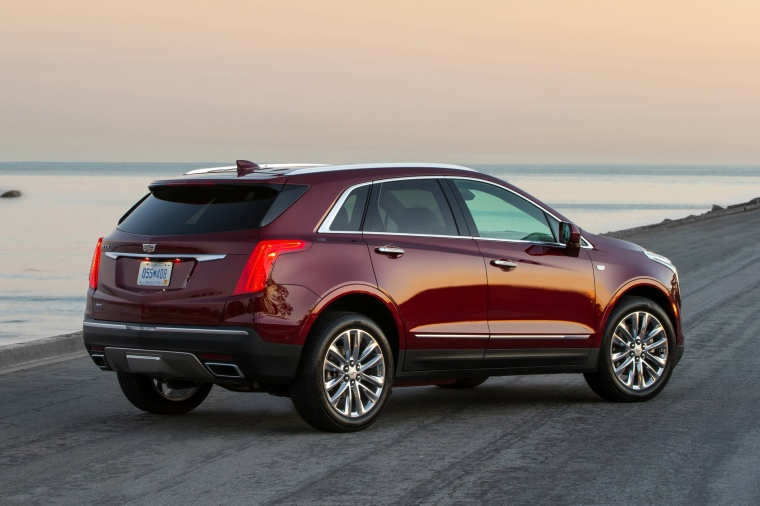 2018 Cadillac XT5 AWD in Red Passion Tintcoat from a rear right three-quarter view