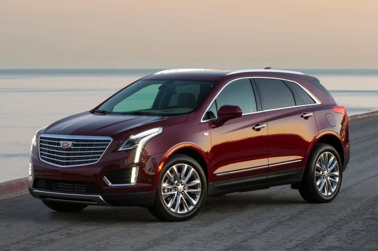 2018 Cadillac XT5 AWD in Red Passion Tintcoat from a front left three-quarter view