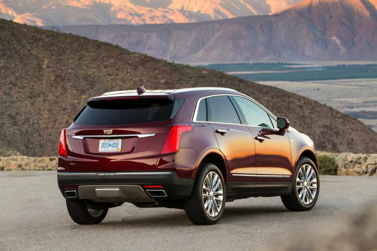 2018 Cadillac XT5 AWD in Red Passion Tintcoat from a rear right view