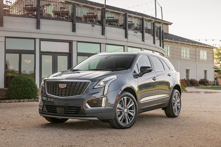 Picture of a 2020 Cadillac XT5 Premium Luxury AWD in Satin Steel Metallic from a front left perspective