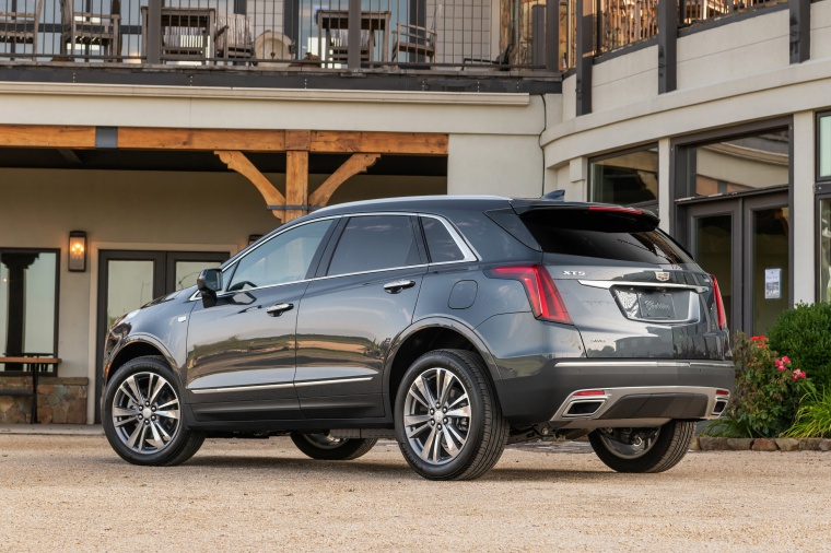 Picture of a 2020 Cadillac XT5 Premium Luxury AWD in Satin Steel Metallic from a rear left three-quarter perspective