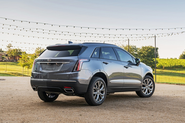 Picture of a 2020 Cadillac XT5 Sport AWD in Satin Steel Metallic from a rear right three-quarter perspective