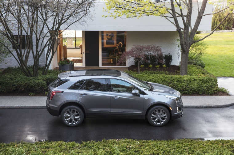 Picture of a 2020 Cadillac XT5 Sport AWD in Satin Steel Metallic from a right side perspective